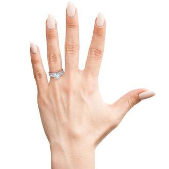 1/2 Carat Pave Halo Diamond Bridal Set in 14k White Gold