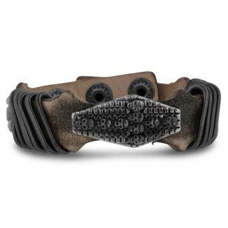 Men's Skull and Cross Leather Bracelet
