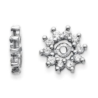14K White Gold Halo Sun Diamond Earring Jackets, Fits 1/4-1/3ct Stud Earrings