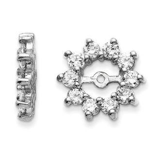 14K White Gold Large Halo Sun Diamond Earring Jackets, Fits 3/4-1ct Stud Earrings