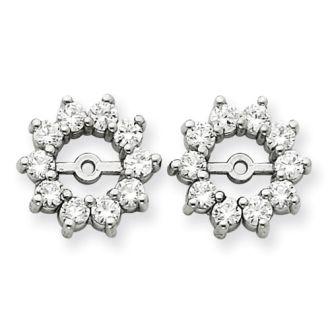 14K White Gold Large Halo Sun Diamond Earring Jackets, Fits 1 1/3-1 1/2ct Stud Earrings
