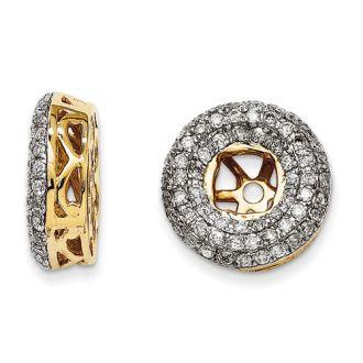 14K Yellow Gold Triple Halo Diamond Earring Jackets, Fits 1/3-1/2ct Stud Earrings