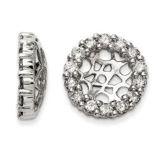 14K White Gold Classic Diamond Earring Jackets, Fits 2 3/4-3ct Stud Earrings
