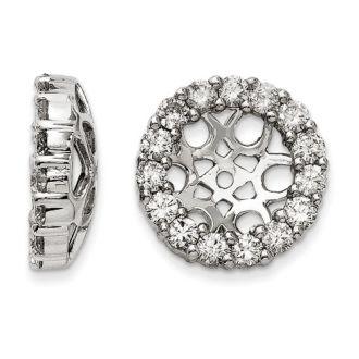 14K White Gold Classic Diamond Earring Jackets, Fits 3 3/4-4ct Stud Earrings
