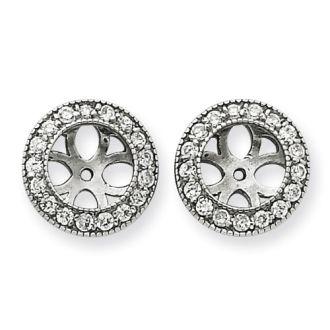 14K White Gold Ornate Diamond Earring Jackets, Fits 1 3/4-2ct Stud Earrings