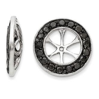 14K White Gold Black Diamond Earring Jackets, Fits 1 3/4-2ct Stud Earrings