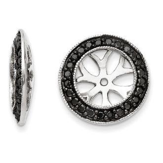14K White Gold Black Diamond Earring Jackets, Fits 3 3/4-4ct Stud Earrings