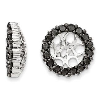 14K White Gold 4-Prong Black Diamond Earring Jackets, Fits 3 3/4-4ct Stud Earrings