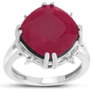 9ct Rotated Cushion Cut Ruby and Diamond Ring Crafted In Solid Sterling Silver