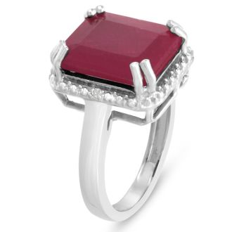 8ct Emerald Shape Ruby and Halo Diamond Ring Crafted In Solid Sterling Silver