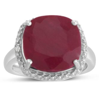 9ct Cushion Cut Ruby and Halo Diamond Ring Crafted In Solid Sterling Silver