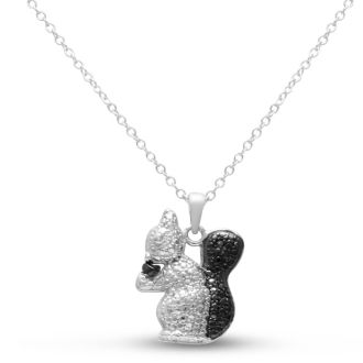 Black and White Diamond Squirrel and Nut Necklace Crafted In Solid Sterling Silver, 18 Inches