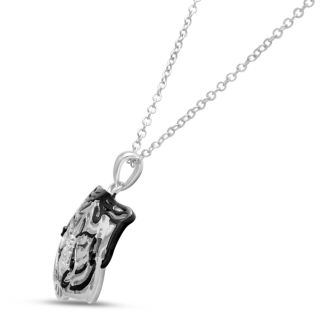 Black and White Diamond Tiger Necklace Crafted In Solid Sterling Silver, 18 Inches