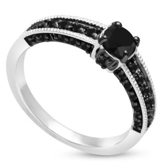 BLOWOUT!  1ct Black Diamond Pave Engagement Ring Crafted In Solid Sterling Silver SIZE 5