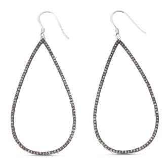 1ct Black Diamond Teardrop Dangle Earrings Crafted In Solid Sterling Silver