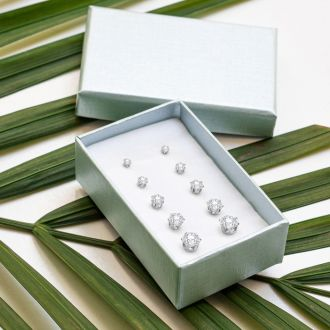 5 Pairs of CZ Stud Earrings set White Gold Color