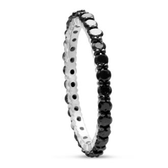 1ct Black Diamond Eternity Band Crafted In Solid Sterling Silver