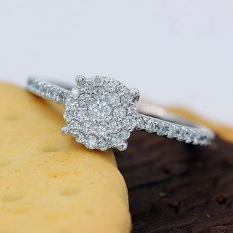1/2 Carat Pave Diamond Engagement Ring In Solid White Gold