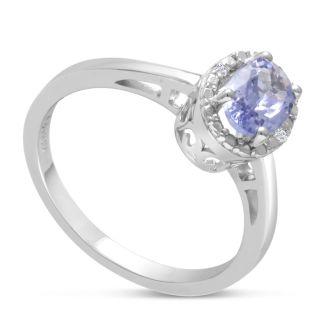 3/4ct Oval Tanzanite and Diamond Halo Ring