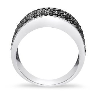 SELLING AT FRACTION OF THE RETAIL PRICE!  1ct Black Diamond 8 Row Ring Crafted In Solid Sterling Silver