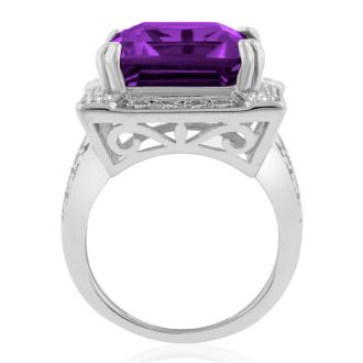 11ct Emerald Shape Amethyst and Diamond Ring Crafted In Solid Sterling Silver in Sizes 4, 4.5 and 5