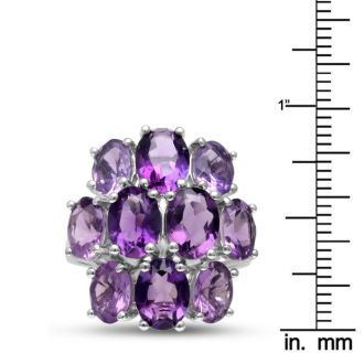 14ct Amethyst Cluster Ring, Ombre Style, Crafted In Solid Sterling Silver