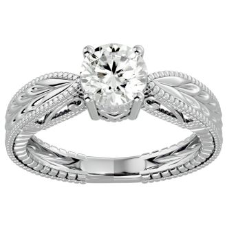 1 Carat Diamond Solitaire Engagement Ring with Tapered Etched Band In 14 Karat White Gold