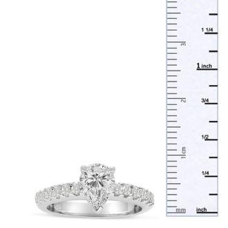1 1/3 Carat Pear Shape Diamond Engagement Ring In 14 Karat White Gold