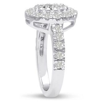 1 1/2 Carat Oval Shape Diamond Engagement Ring in 14 Karat White Gold