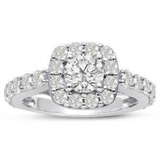 1 3/4 Carat Halo Diamond Engagement Ring in 14 Karat White Gold