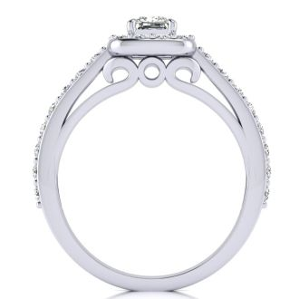 2 Carat Halo Diamond Engagement Ring in 14 Karat White Gold