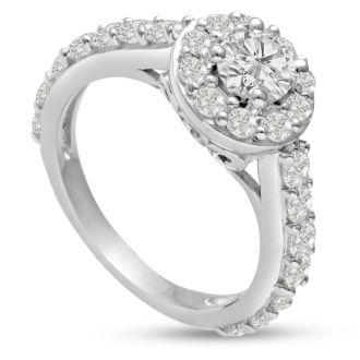 1 1/2 Carat Halo Diamond Engagement Ring in 14 Karat White Gold