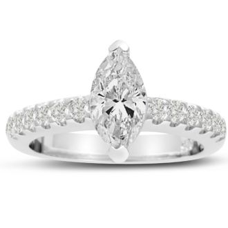 1 1/3 Carat Marquise Shape Diamond Engagement Ring In 14 Karat White Gold
