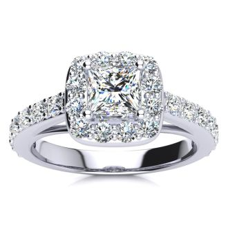 2ct Princess Cut Halo Diamond Engagement Ring Crafted in 14 Karat White Gold