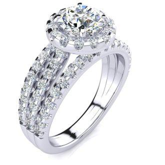 2 Carat Round Halo Diamond Engagement Ring in 14 Karat White Gold