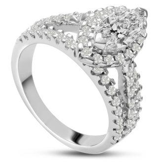 1 2/3 Carat Marquise Halo Diamond Engagement Ring in 14 Karat White Gold