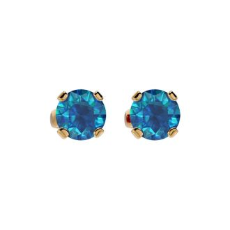 3/4 Carat Blue Diamond Stud Earrings In 14 Karat Yellow Gold