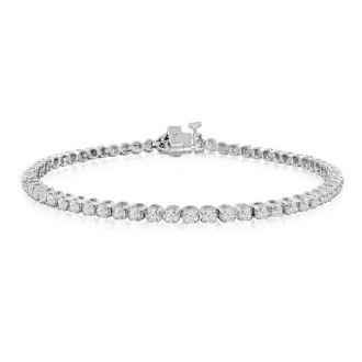 2.11 Carat Diamond Tennis Bracelet In 14 Karat White Gold, 7 1/2 Inches