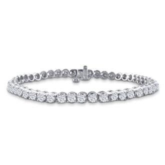 3.21 Carat Diamond Tennis Bracelet In 14 Karat White Gold, 7 1/2 Inches