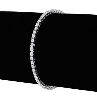 3 1/4 Carat Diamond Tennis Bracelet In 14 Karat White Gold, 7 1/2 Inches