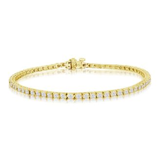 3 1/4 Carat Diamond Tennis Bracelet In 14 Karat Yellow Gold, 7 1/2 Inches