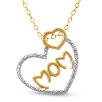 Two-Tone Diamond Heart 'Mom' Necklace