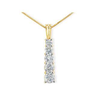 1ct Stick Style Journey Diamond Pendant in 14k Yellow Gold