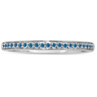 1/10ct Micro Pave Womens Blue Diamond Wedding Band in 10k White Gold