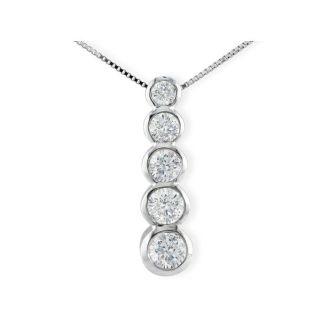 1/4ct Bezel Set Journey Diamond Pendant in 14k White Gold