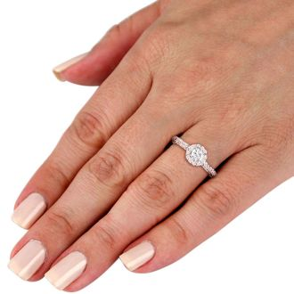 1 Carat Round Halo Diamond Engagement Ring in 14k White Gold, H-I, SI2-I1