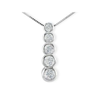 3/4ct Bezel Set Journey Diamond Pendant in 14k White Gold