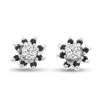 14K White Gold Flower Black Diamond Earring Jackets, Fits 1/4-1/2ct Stud Earrings