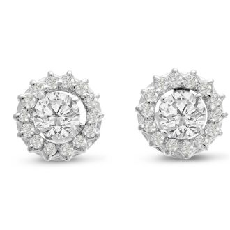 14K White Gold Classic Diamond Earring Jackets, Fits 2-2 1/2ct Stud Earrings