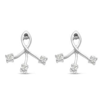 14K White Gold Branch Diamond Earring Jackets